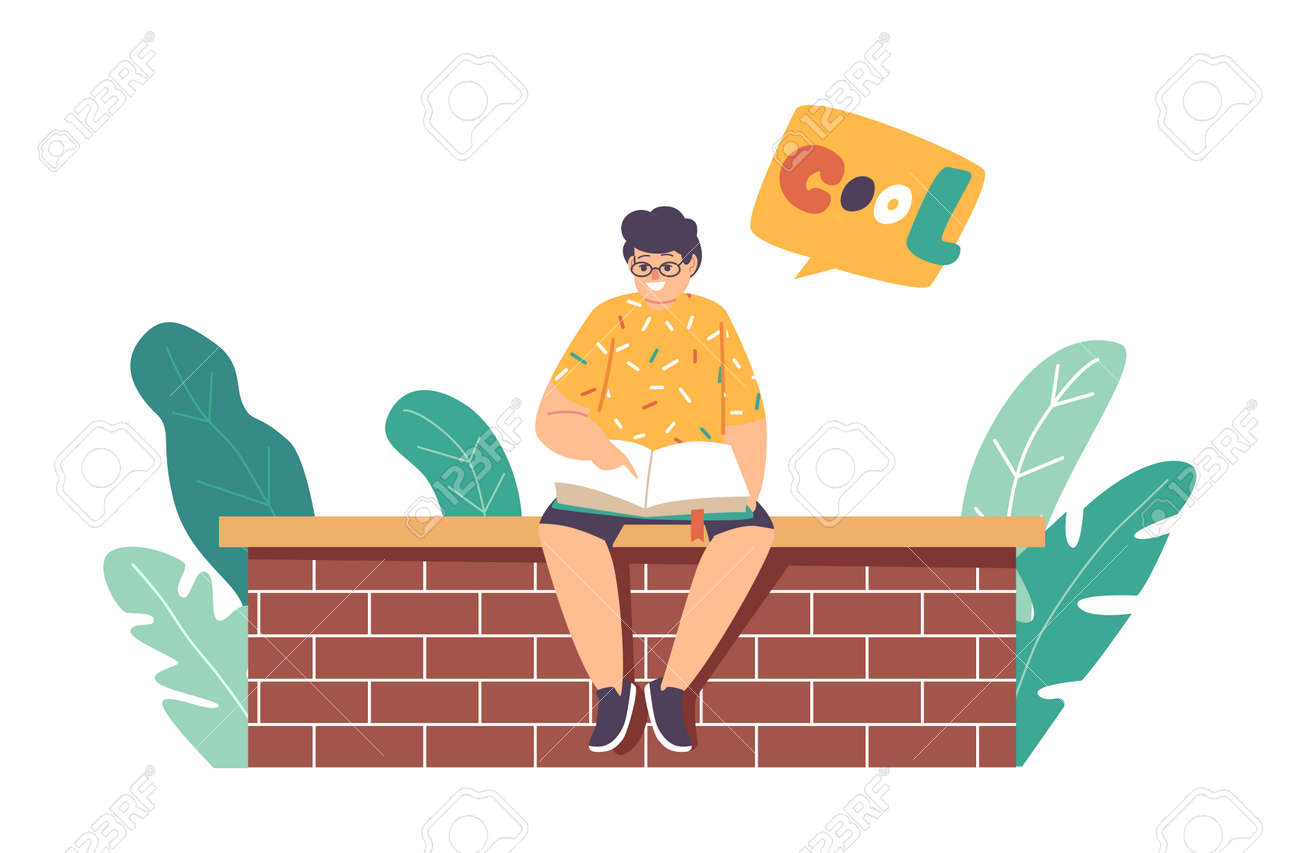 Little Boy Reading Book Sitting on Brick Wall, Kid Character Studying, Learning Classes Outdoors. School Child Education - 171836799