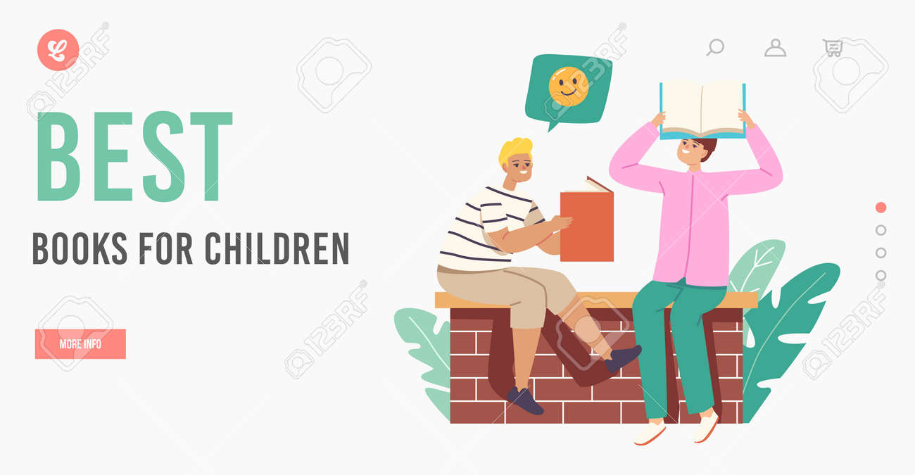 Best Books for Children Landing Page Template. Readers Characters Holding Book above Head Reading, Learning Homework - 171857236