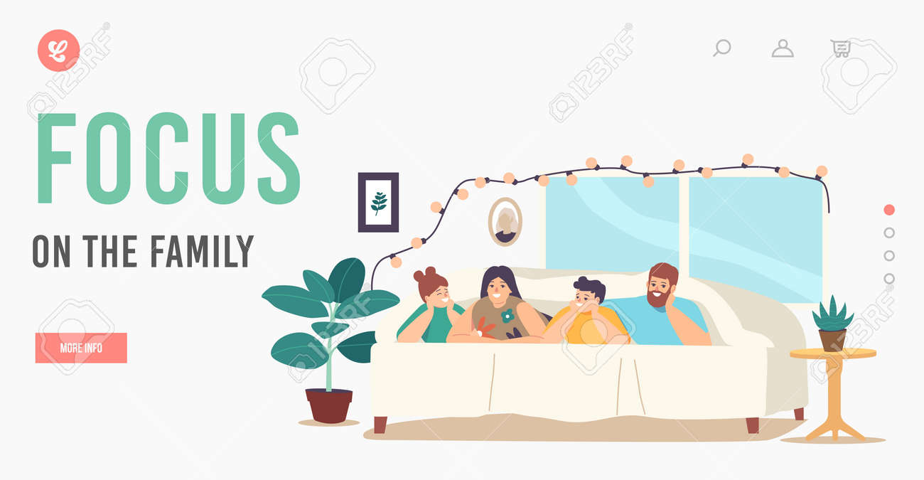 Focus on the Family Landing Page Template. Happy Sparetime, Sweet Life Moments. Parents and Children Relax at Home - 171837389
