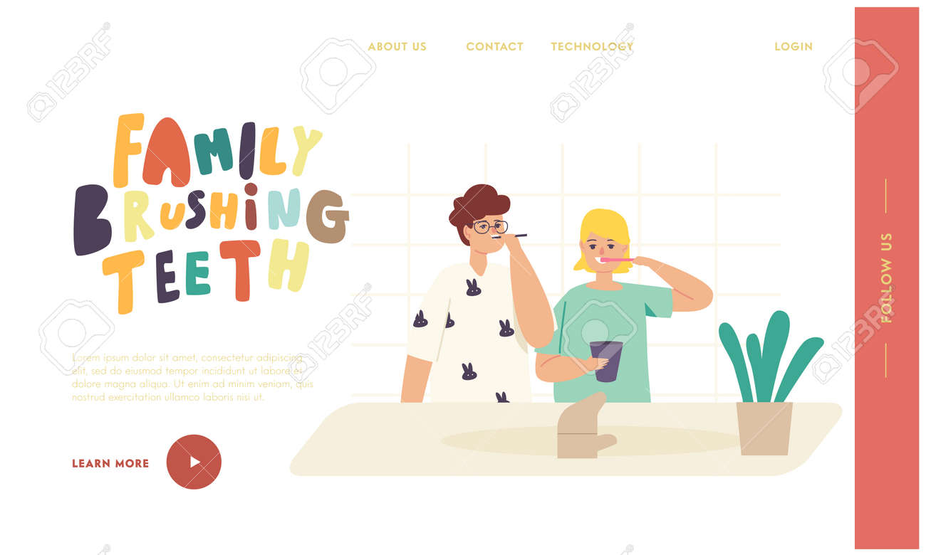 Kids Brushing Teeth Landing Page Template. Happy Family Characters with Toothbrush and Paste Dental Hygiene Procedure - 171836635