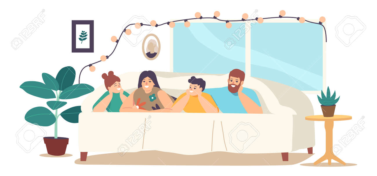 Happy Family Sparetime, Sweet Life Moments. Parents and Children Relax at Home. Characters Lying Under Blanket on Bed - 171836934