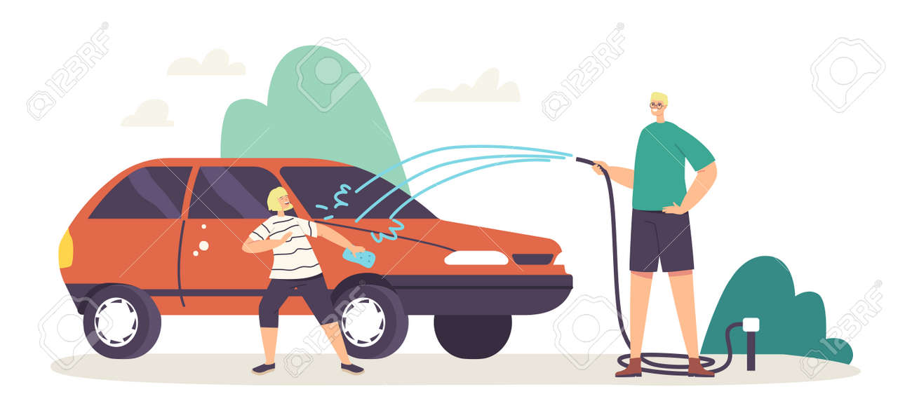 Happy Family Characters Father and Little Son Having Fun, Splashing Water from Hose while Washing Car at Cottage Yard - 171836767