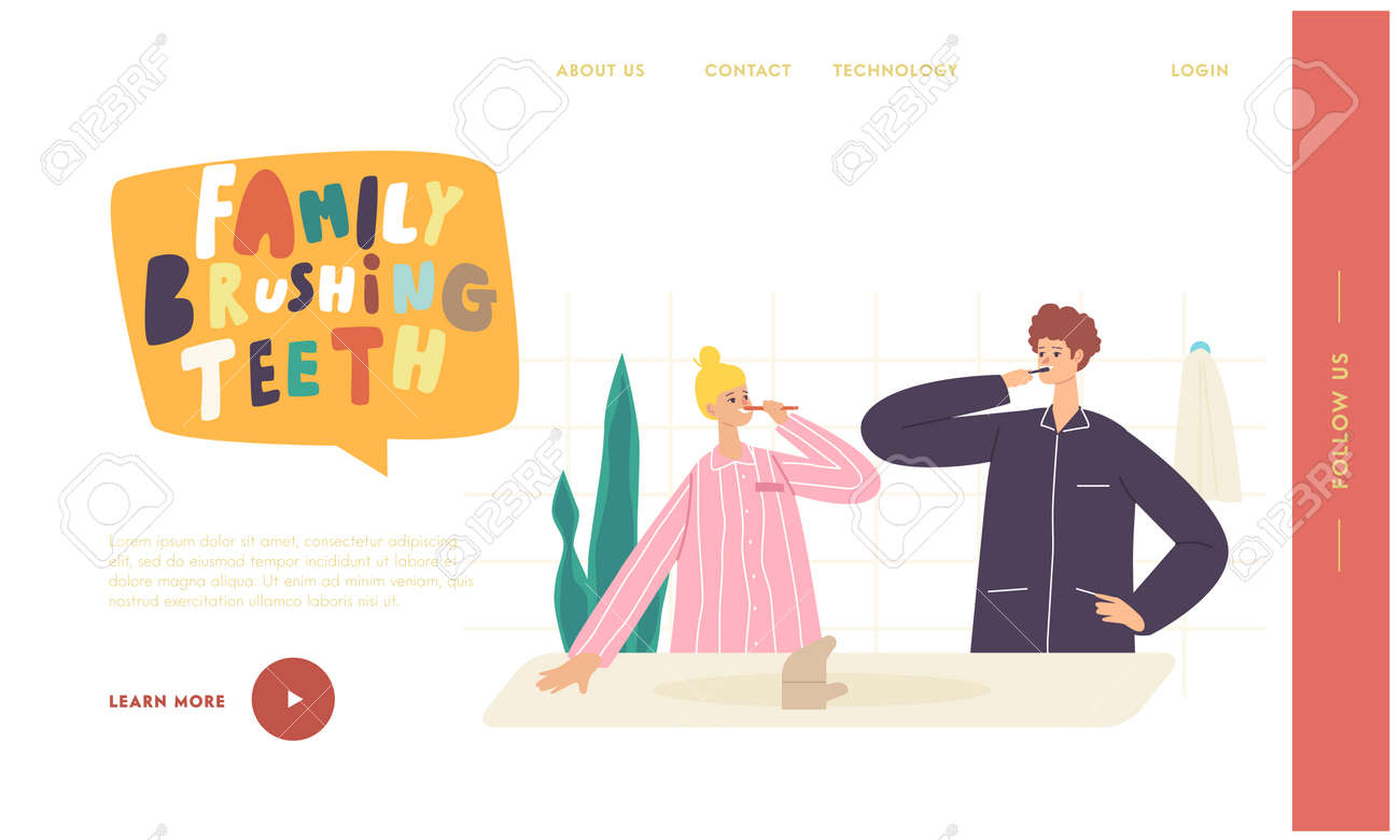Couple Characters Morning Hygiene Landing Page Template. Young Woman and Man Stand in Bathroom and Brushing Teeth - 171837180