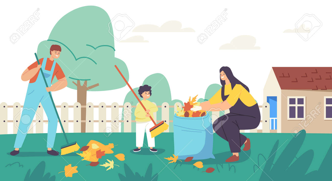 Happy Mother and Sons Garden Clean Up Works. Family Characters Cleaning Backyard Having Fun All Together, Collect Leaves - 171836965