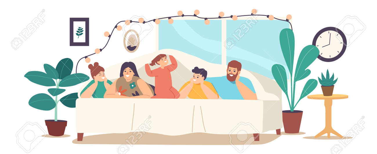 Family Characters Mother, Father and Kids Lying Under Blanket on Bed in Cozy Room Decorated with Lighting Garland - 171836966