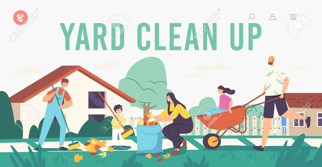 Yard Clean Up Landing Page Template. Happy Family Characters Cleaning Backyard Having Fun All Together, Collect Leaves - 171837094