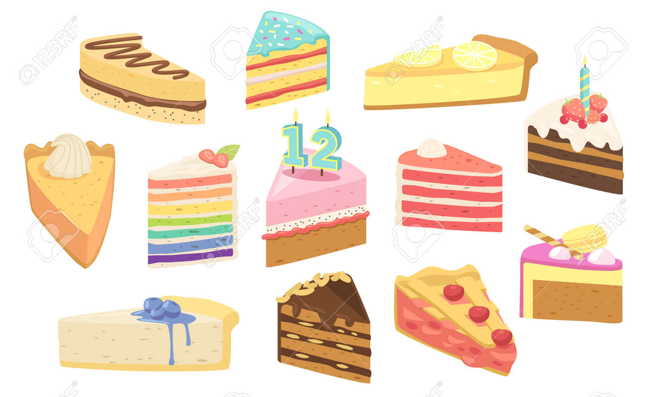 Set Birthday Cakes Dessert Pieces with Candles, Fruits or Berries. Confectionery Sweet Production Pies, Pastry, Bakery - 171837394