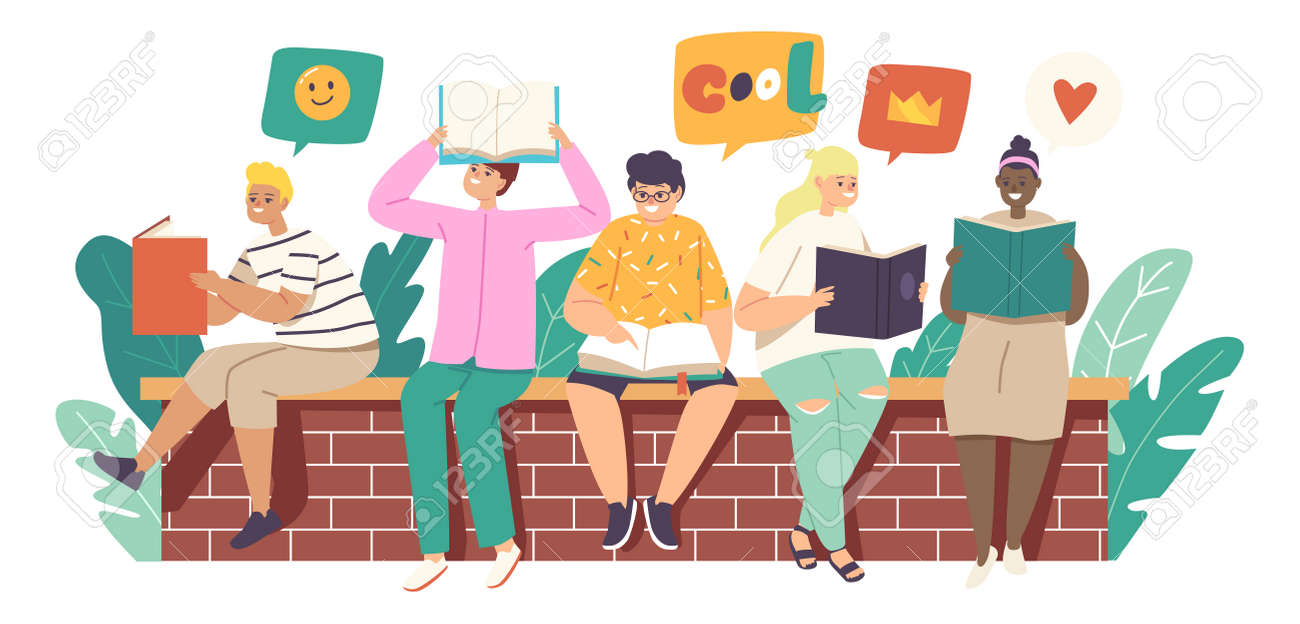 Kids Reading Stories, Children or Teens Sitting on Brick Wall with Books. School Education, Knowledge Concept - 171837108