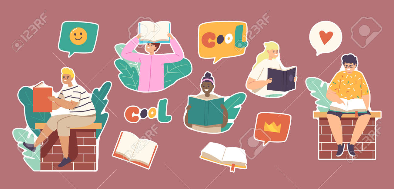 Set of Stickers Kids Reading Stories, Children or Teens Sitting on Brick Wall with Books. School Education, Knowledge - 171857175