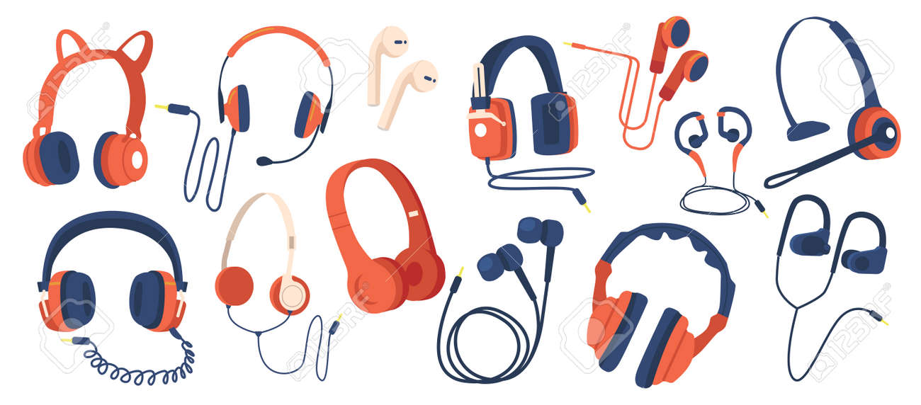 Set of Headphones, Wired and Wireless Earphones, Audio Equipment for Music Listening. Earbuds for Smartphone Isolated - 171857176