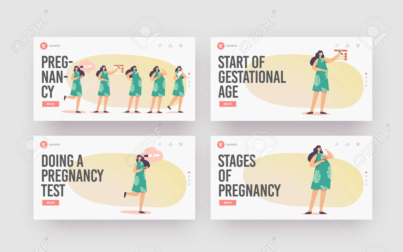 Female Pregnancy Stages Landing Page Template Set. Positive Test, Calendar Date, Growing Belly, Woman Child Delivery - 171857179