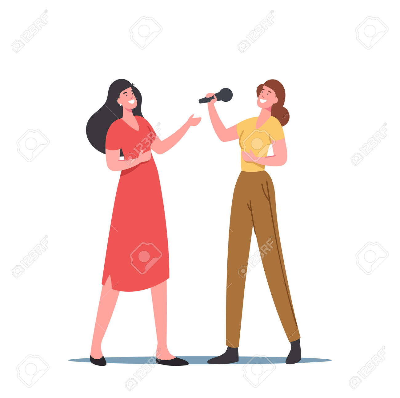Female Characters Sing with Microphones, Vocal Lessons, Training Voice or Singing Songs in Karaoke. Women Develop Talent - 171875796