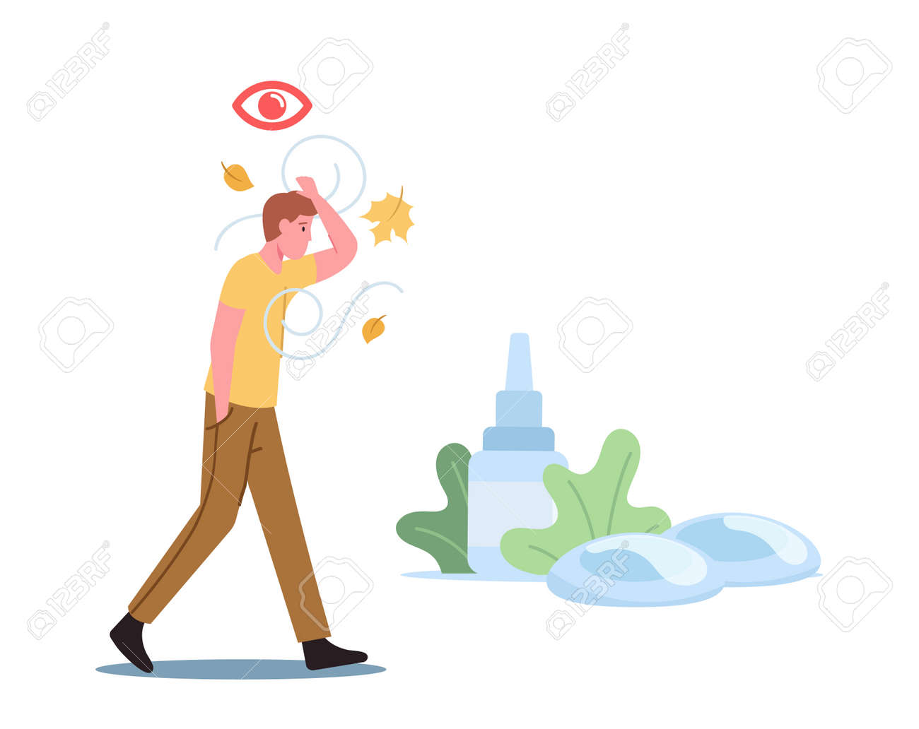 DES Medical and Pharmaceutical Concept. Male Character Walk Outdoor Suffering of Dry Eyes Syndrome and Conjunctivitis - 171875862