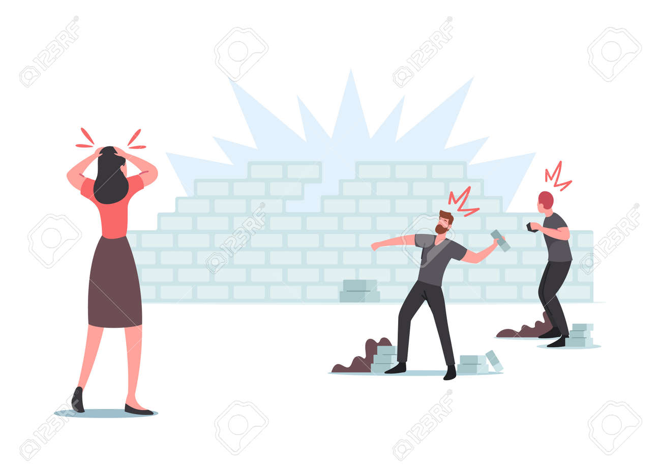 Damage, Conflict, Panic, Violence Riot, Looting, Aggressive Herd Behavior Concept. Characters Throw Stones in Brick Wall - 171875738