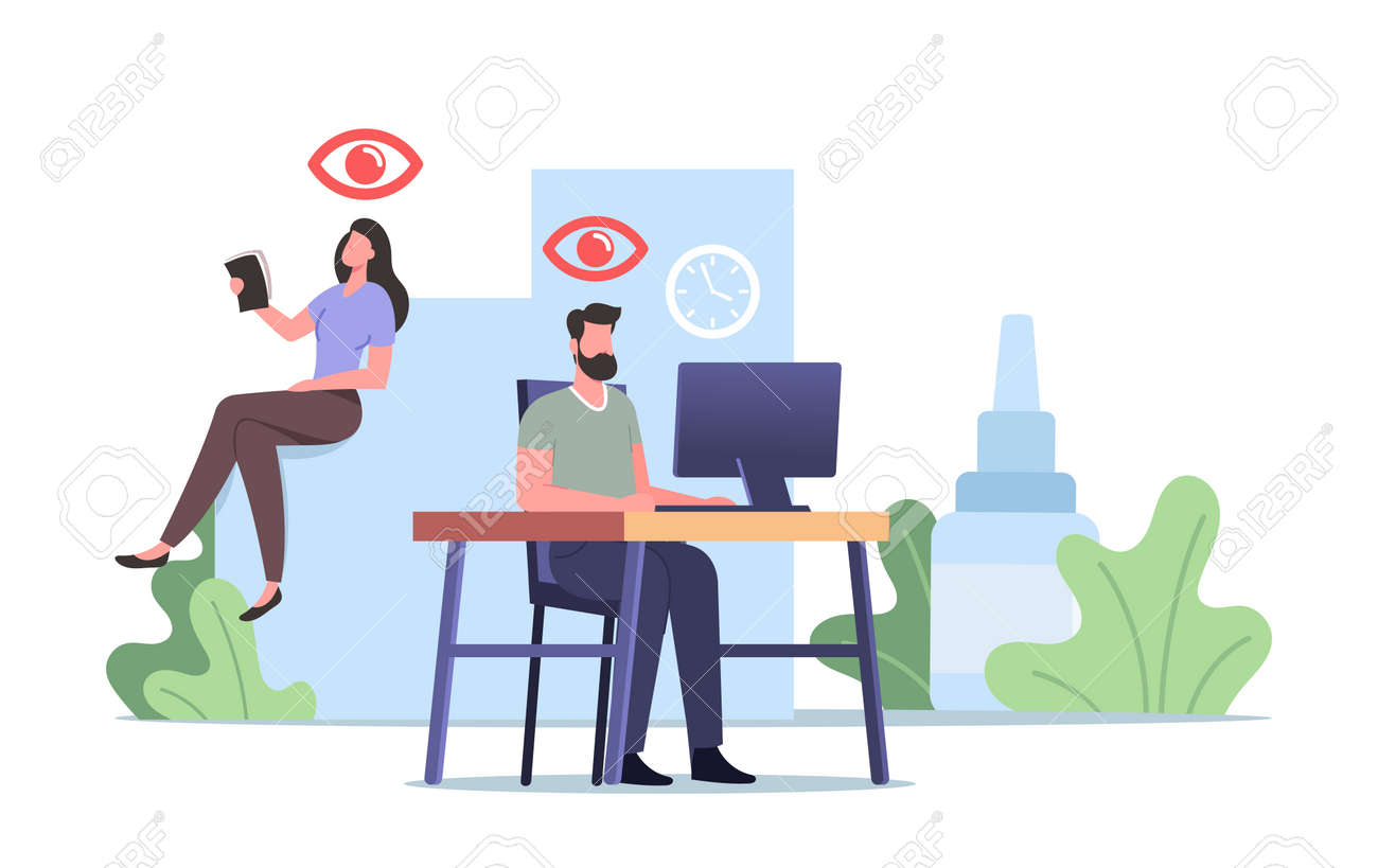 Vision Problems Medical Concept. Office Worker Characters Suffering of DES, Dry Eyes Syndrome and Conjuctivitis Disease - 171875798