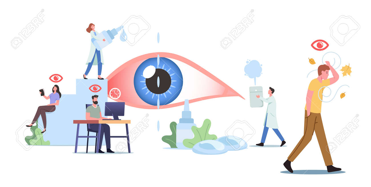 Tiny Characters around of Huge Eye. People Suffer of DES, Dry Eyes Syndrome and Conjunctivitis Disease Visit Clinic - 171876425
