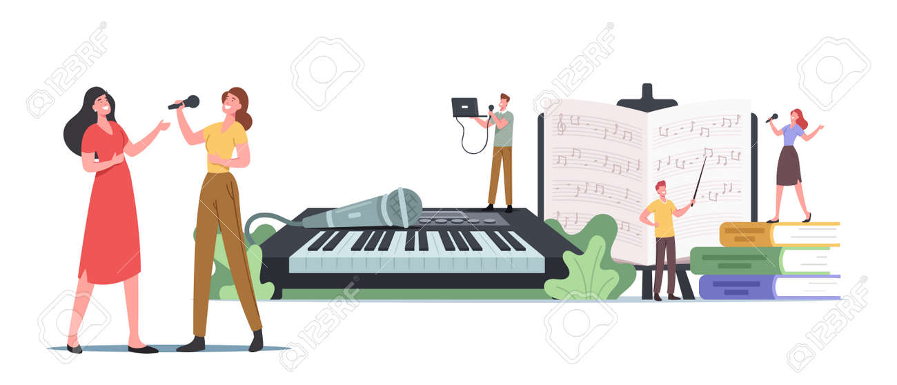 Tiny Characters at Huge Synthesizer Take Musical Vocal Lessons Training Voice and Singing Songs. People Develop Talent - 171876359
