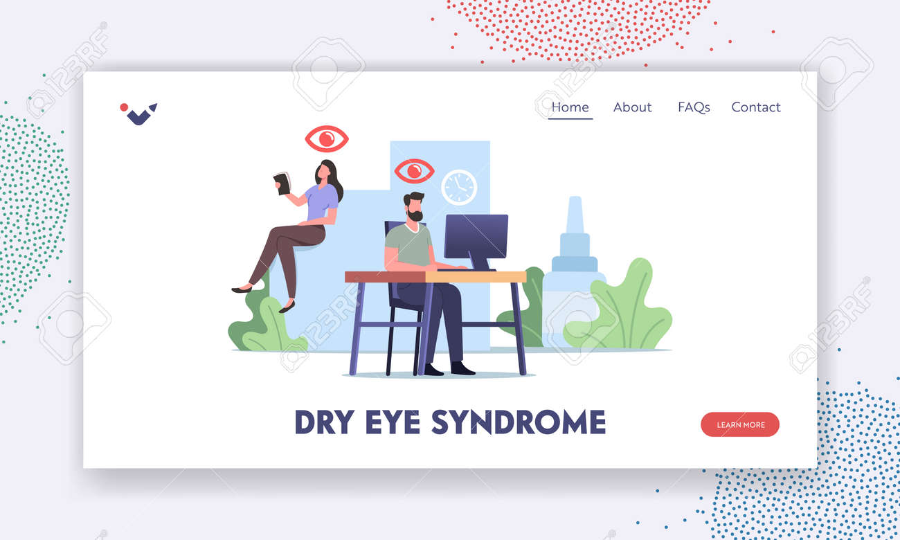 Dry Eyes Syndrome Landing Page Template. Office Worker Characters Suffering of DES, and Conjunctivitis Disease - 171876197