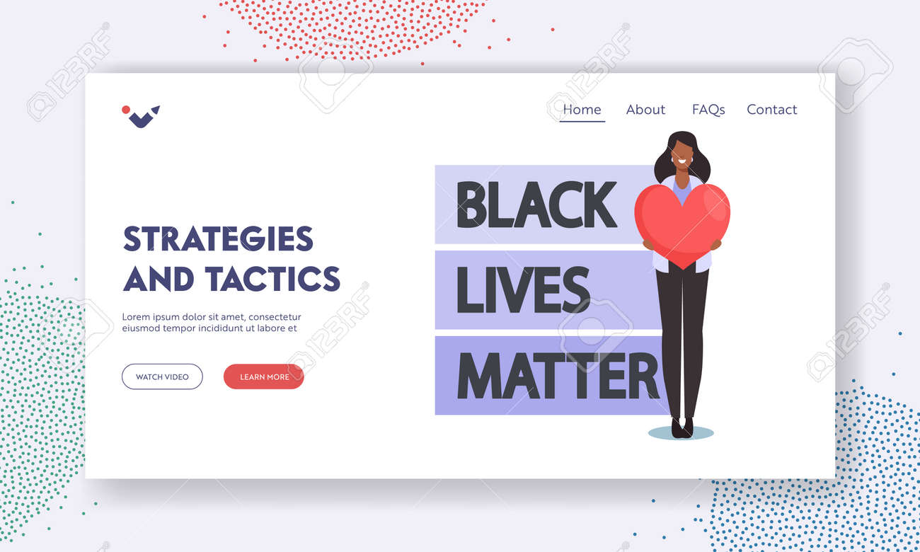 Black Lives Matter Strategies and Tactics Landing Page Template. Antiracist African Character with Heart in Hand Protest - 171876741
