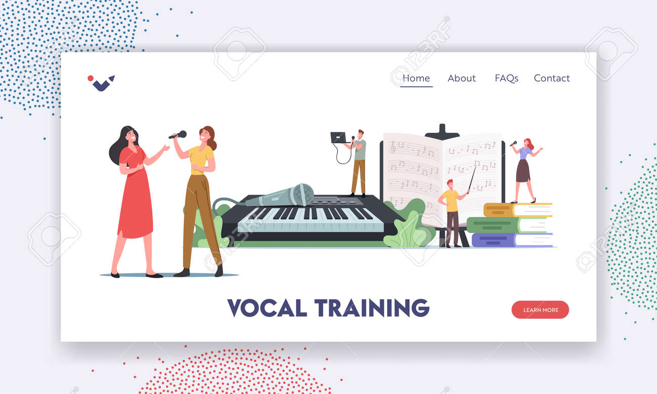 Vocal Training Landing Page Template. Characters Take Musical Lessons Voice and Singing Songs. People Developing Talent - 171876441