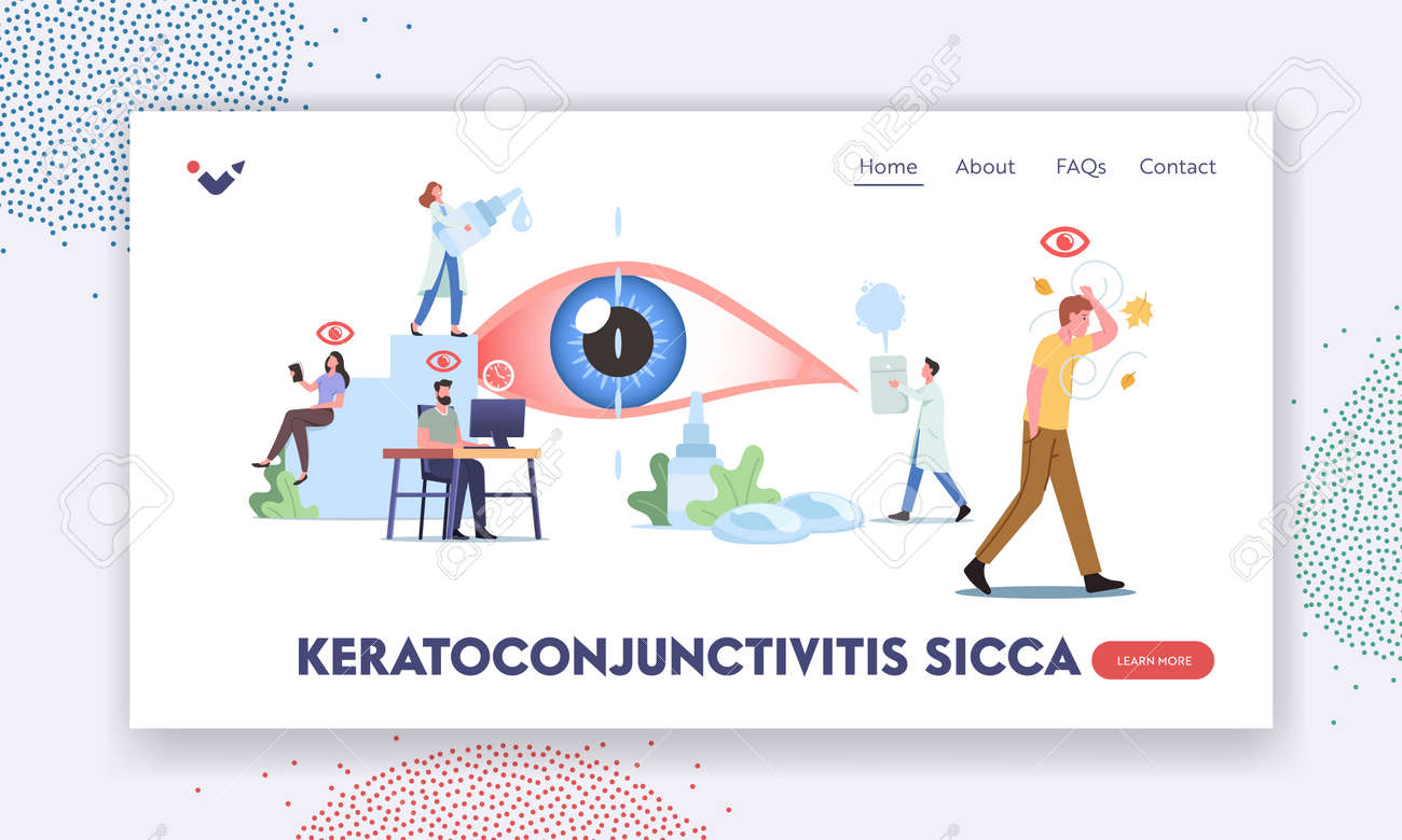 Keratoconjunctivitis Sicca Landing Page Template. Tiny Characters around of Huge Eye. People Suffer of DES, Visit Clinic - 171876702