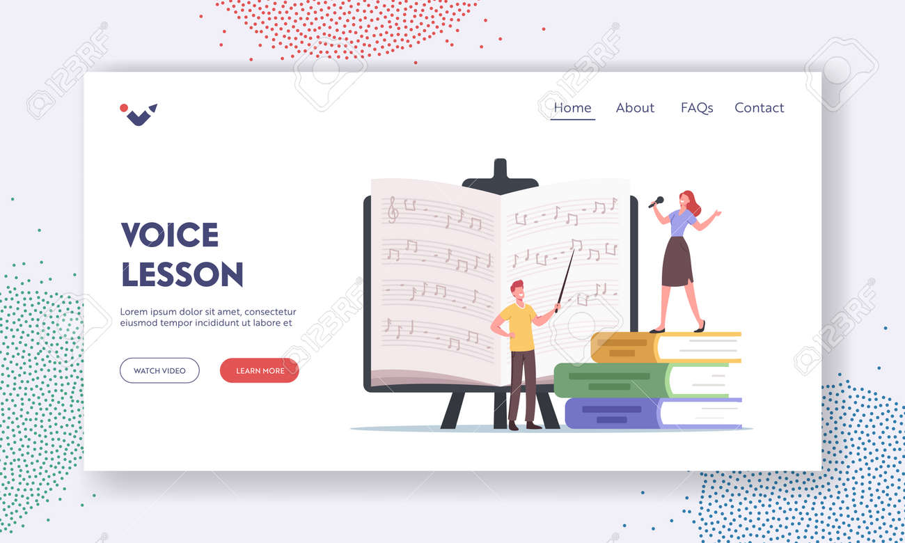 Voice Lessons Landing Page Template. Characters Teacher and Student Sing, Learning Notes. Vocalist Take Vocal Lessons - 171876735