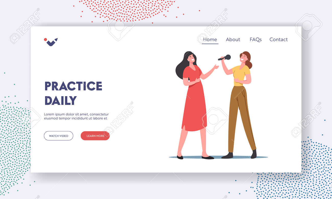 Vocal Lessons Landing Page Template. Female Characters Sing with Microphones, Training Voice or Singing Songs in Karaoke - 171876995