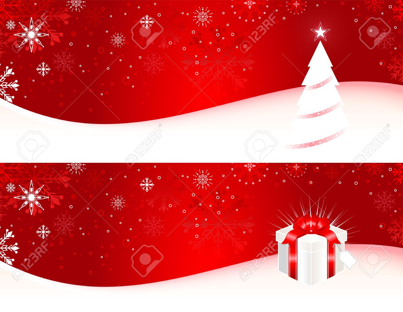 Christmas Banner With Christmas Tree, Gift Box And Snowflakes ...