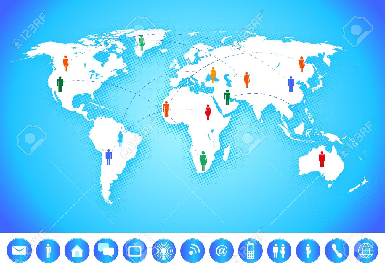 World map with social network and communication icons. Stock Vector - 11661324