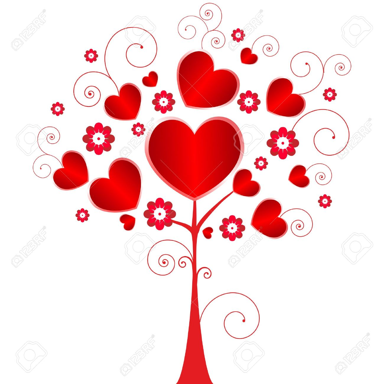 Valentine Day Tree With Flowers And Hearts. Royalty Free Cliparts ...