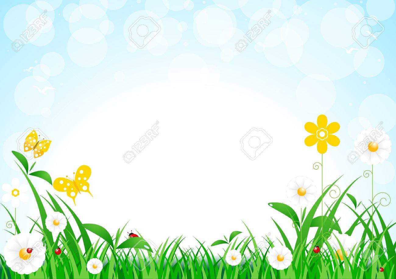 Spring field full of flowers and flying butterflies over cloudy blue sky Stock Vector - 13632680