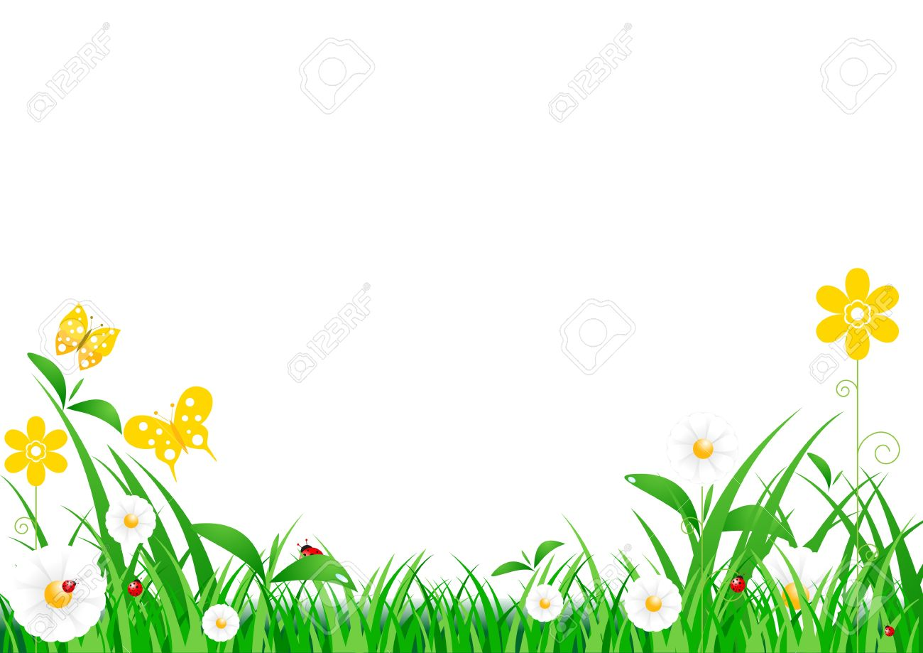 Green Grass with flowers And Blue Sky Stock Vector - 13632632
