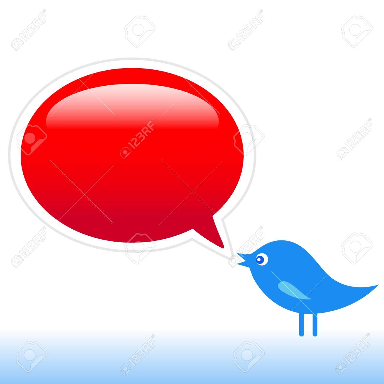 Blue bird with social media icons, illustration Stock Vector - 13632616