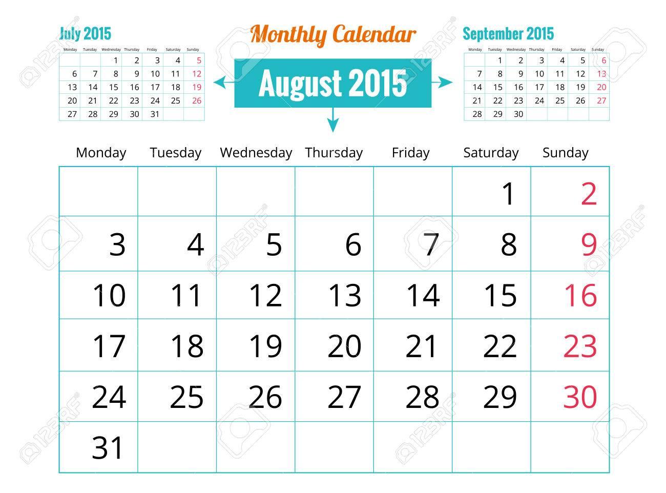 vector vector of august 2015 calendar
