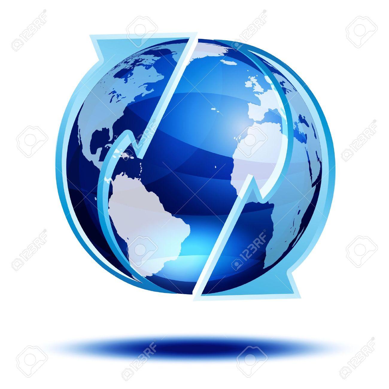 Blue globe with arrows Stock Vector - 14605242