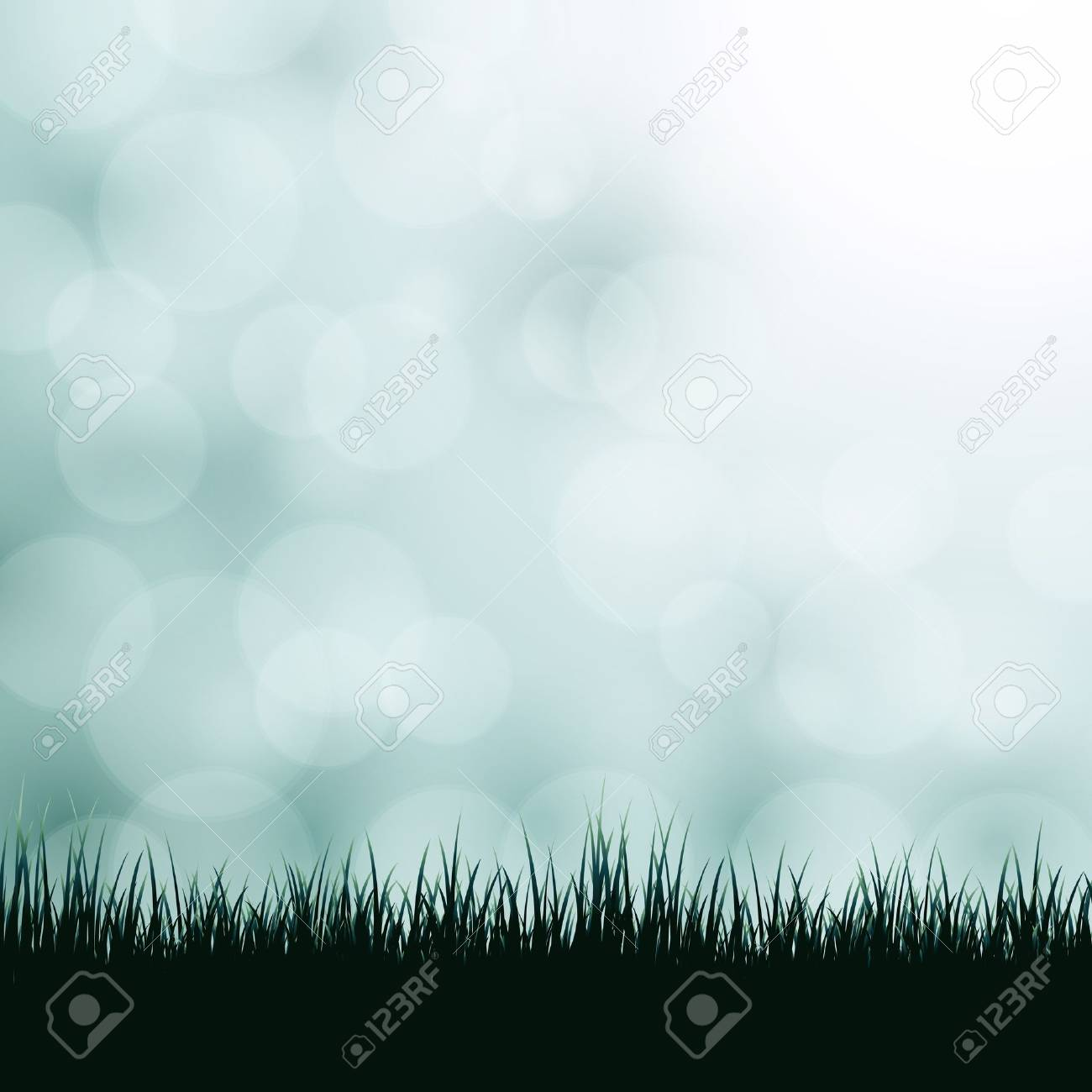 Nature background with grass and bokeh lights. Stock Vector - 17553696