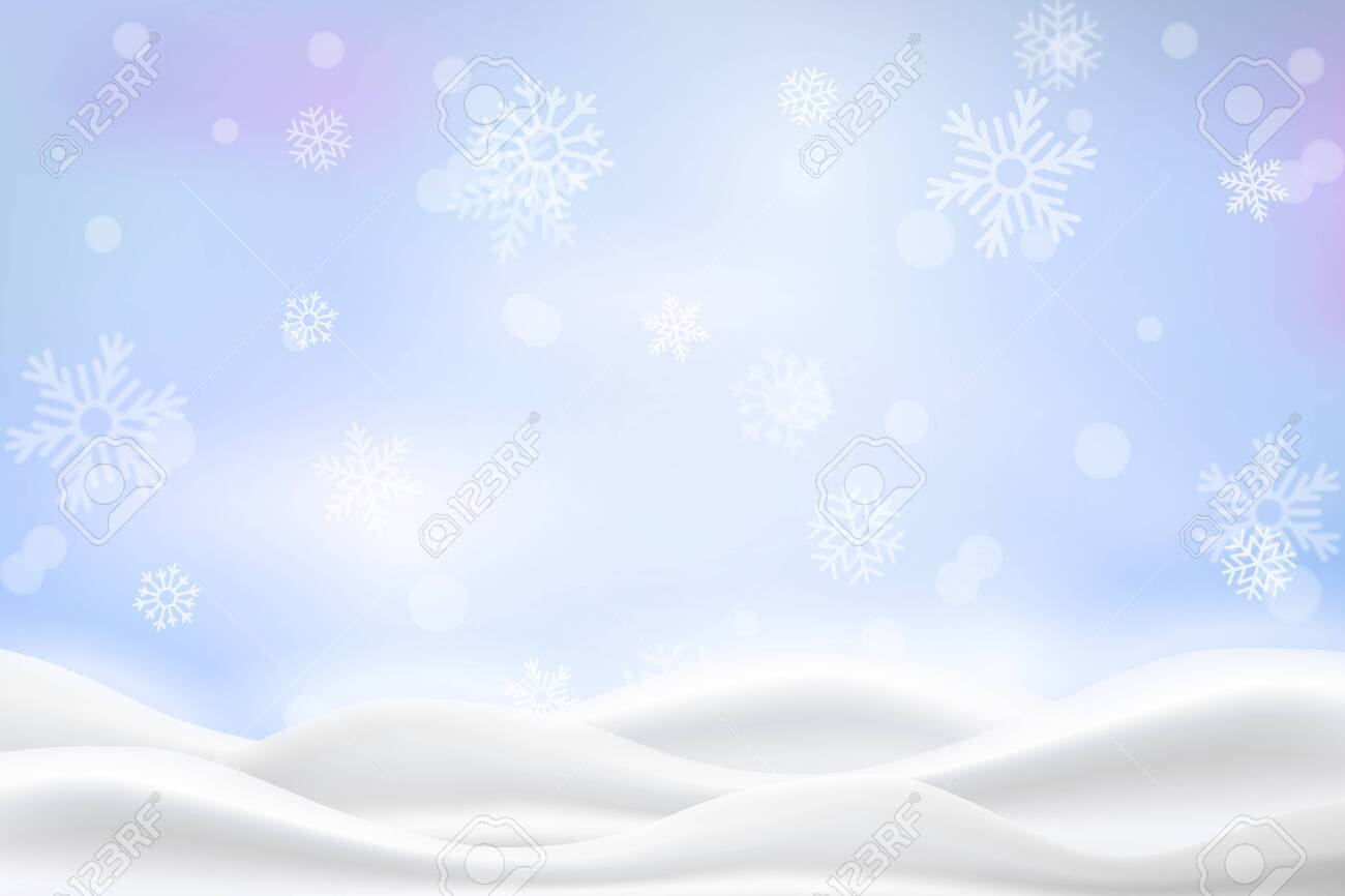Vector heavy snowfall, snowflakes in different shapes and forms. Snow flakes, snow background. Falling Christmas. - 144157886