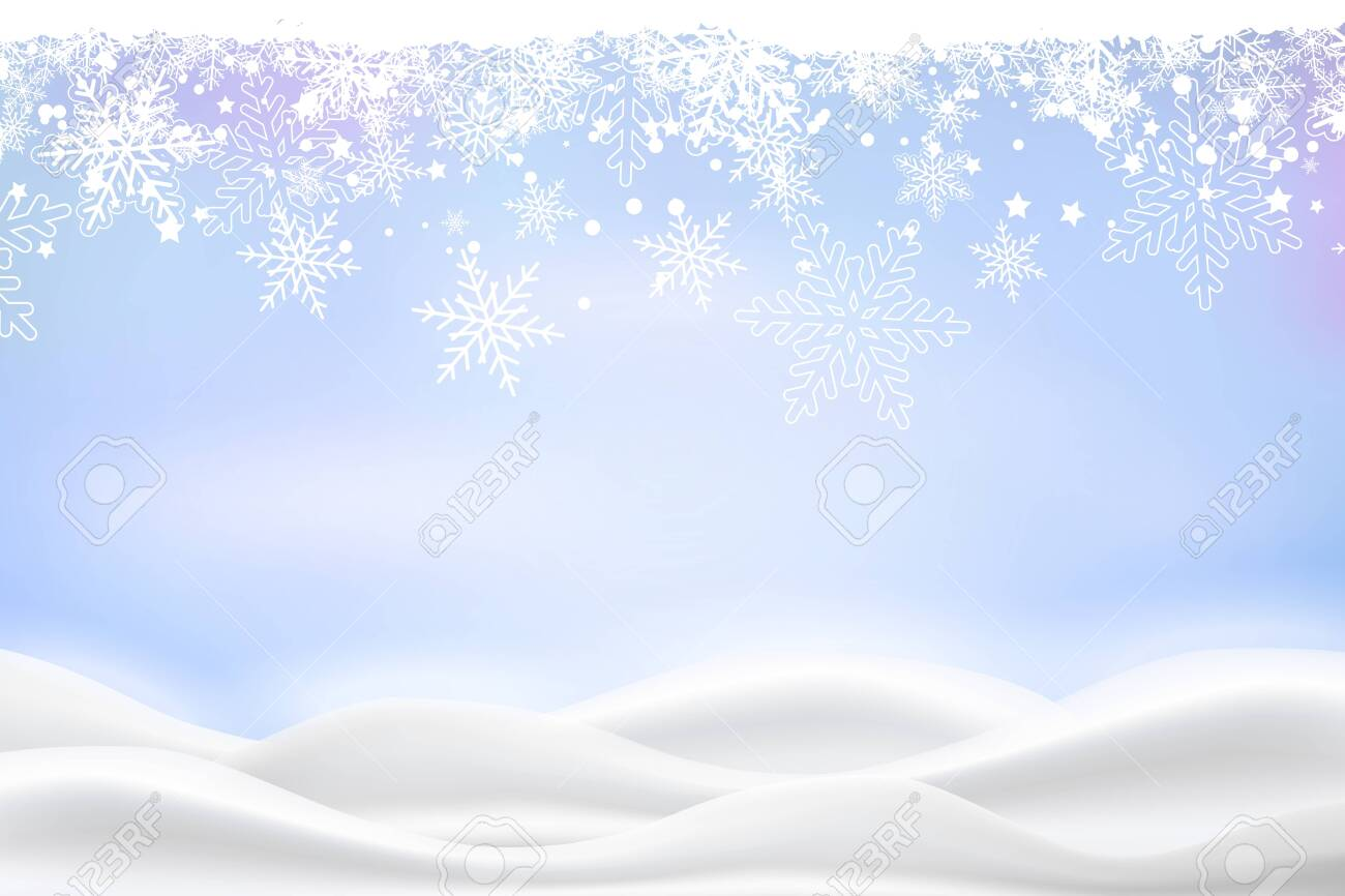 Vector heavy snowfall, snowflakes in different shapes and forms. Snow flakes, snow background. Falling Christmas. - 144158558