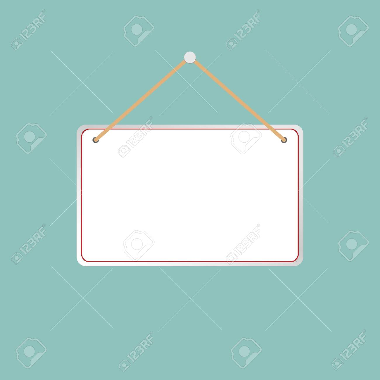 Illustration of a hanging sign against a light gray background. - 150230546