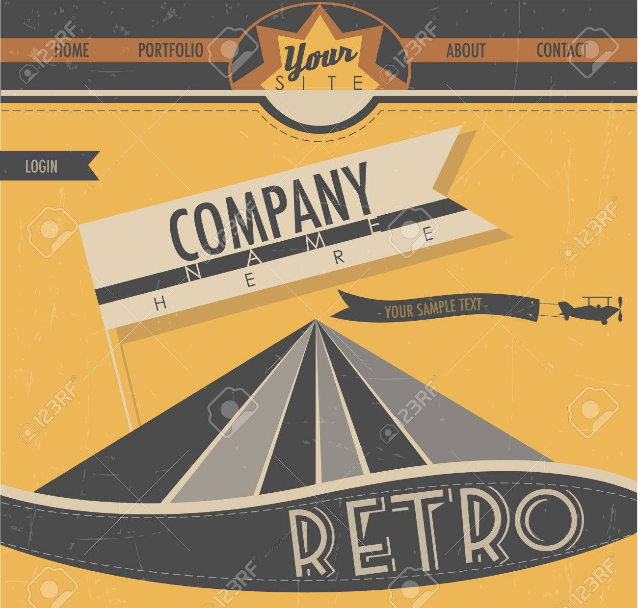 website template in retro style vintage style creative web design