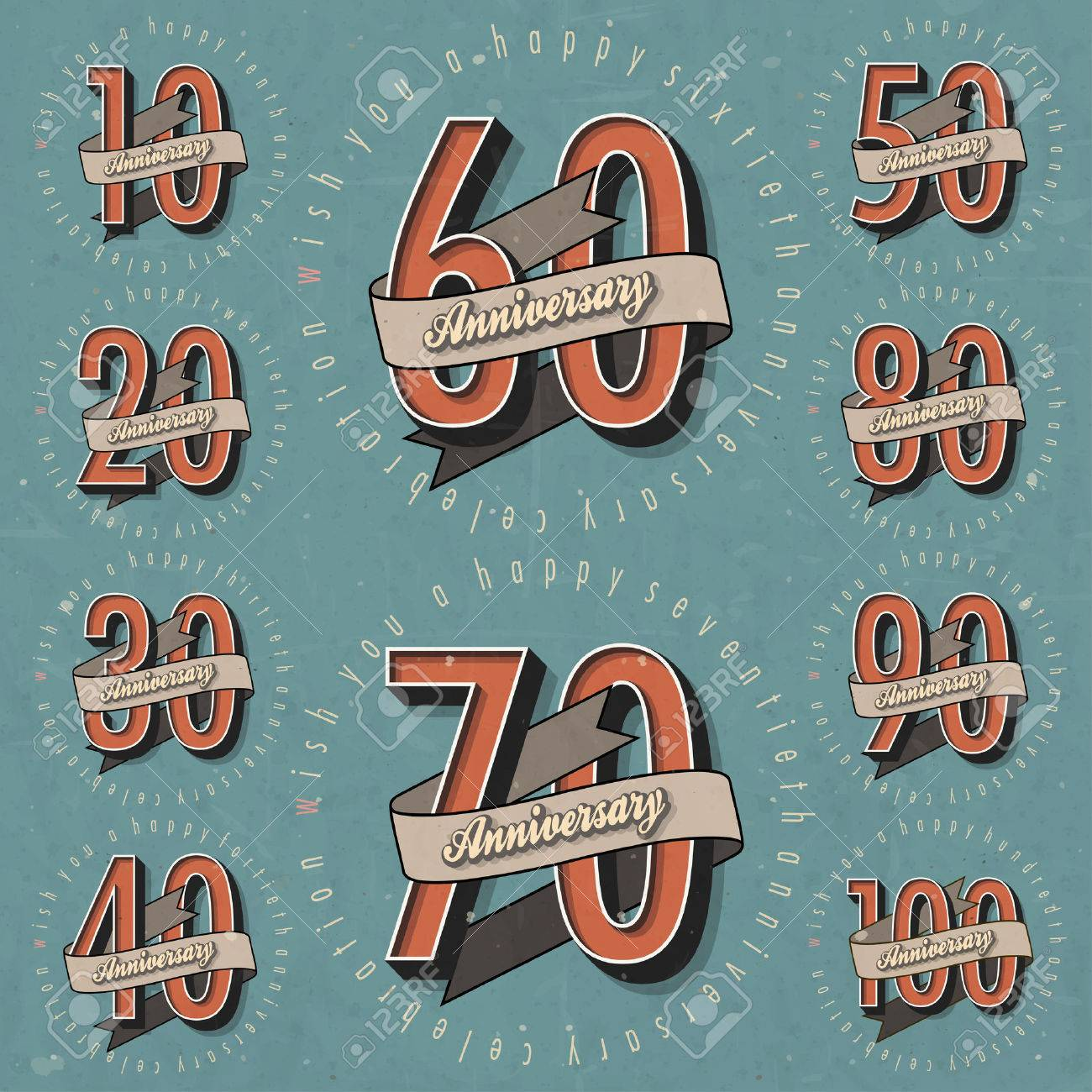 Anniversary sign collection and cards design in retro style anniversary sign collection and cards design in retro style template of anniversary jubilee or birthday yadclub Image collections