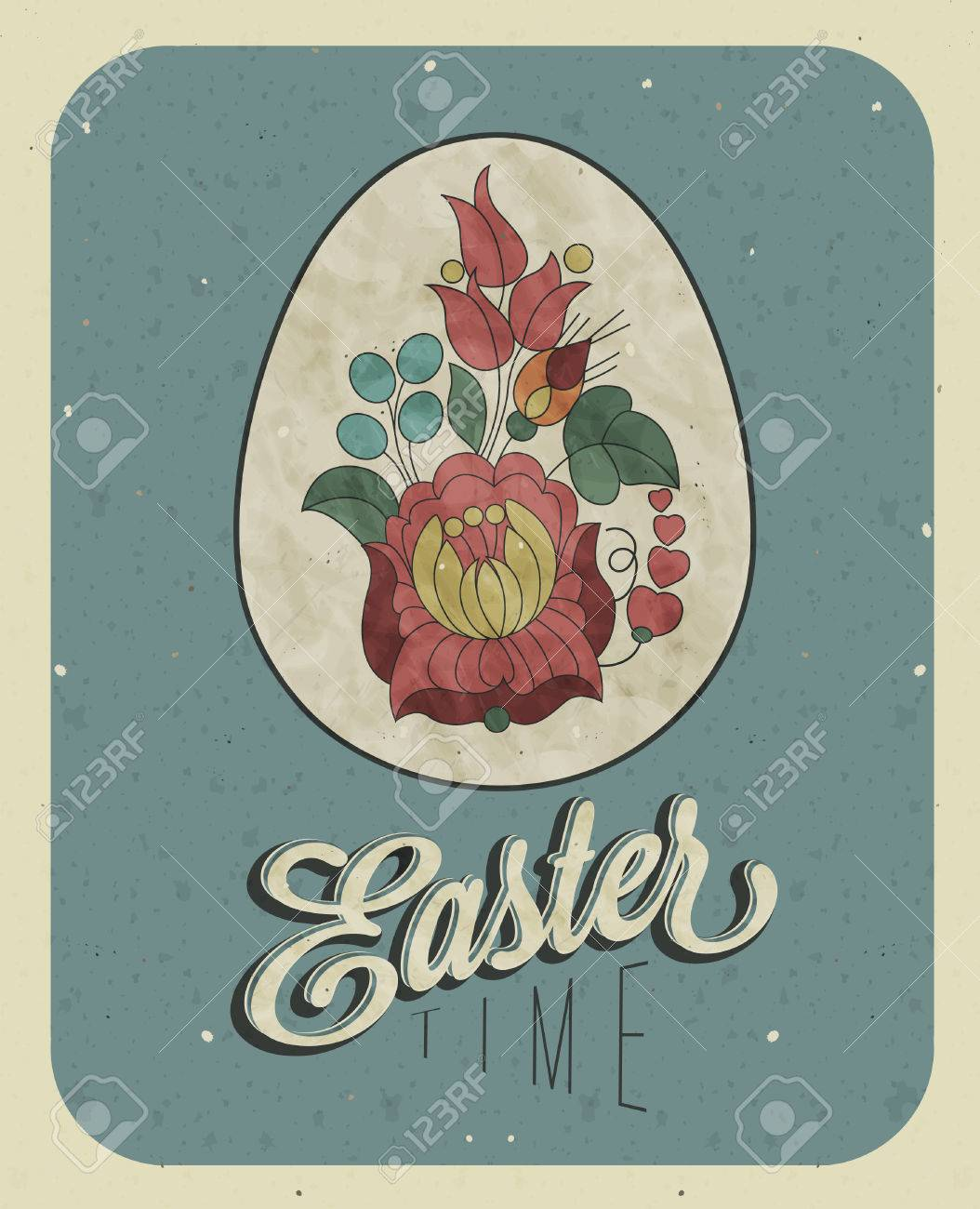 Vintage style easter greeting card retro easter postcard hand vector vintage style easter greeting card retro easter postcard hand drawing style easter egg with hungarian traditional flowers grunge texture m4hsunfo Images