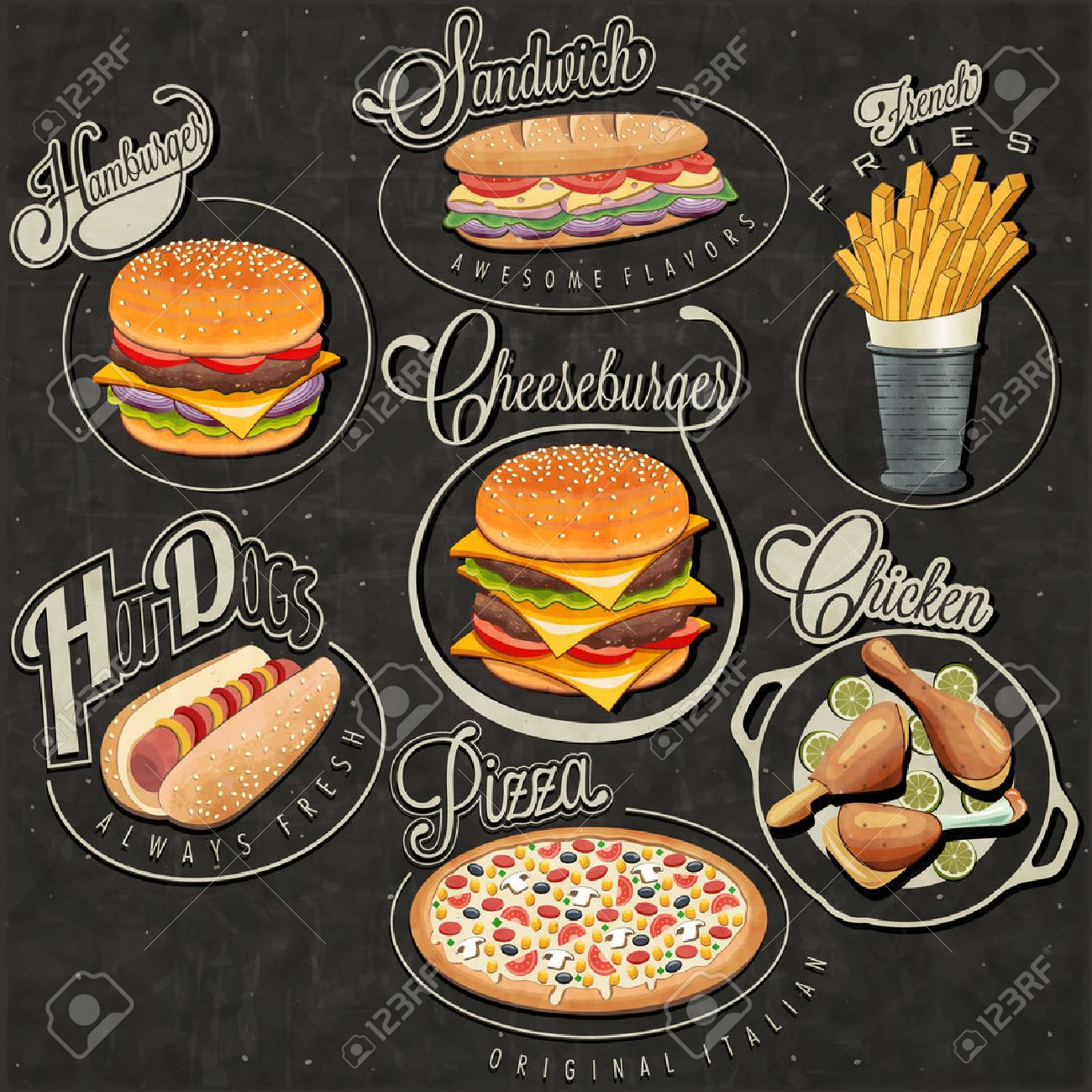 Retro Vintage Style Fast Food Designs Set Of Calligraphic Titles And