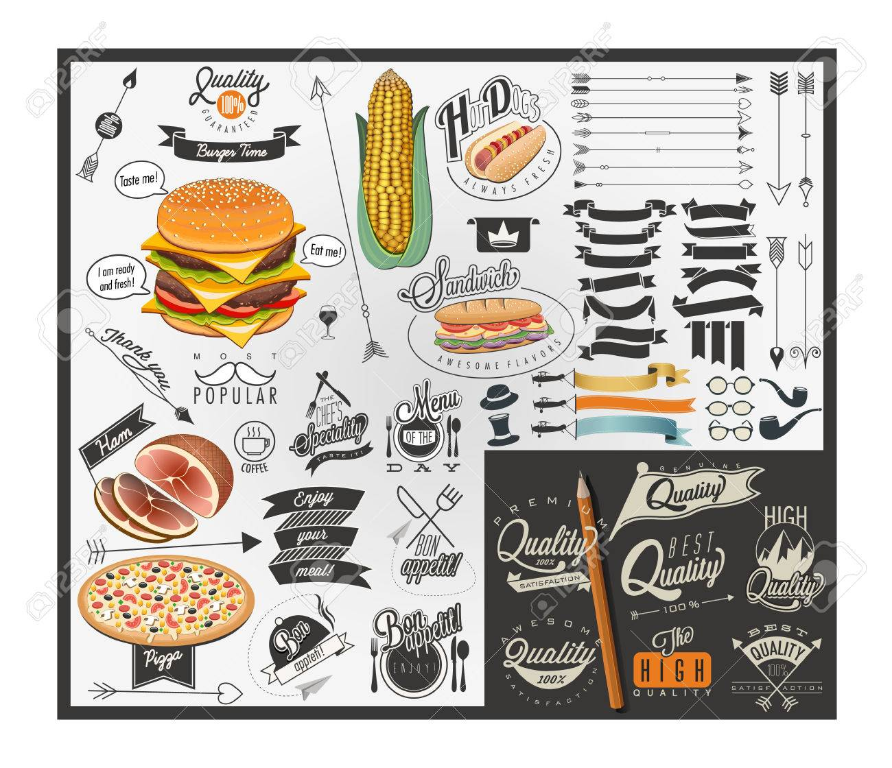 Retro Vintage Style Fast Food Designs Set Of Calligraphic Titles