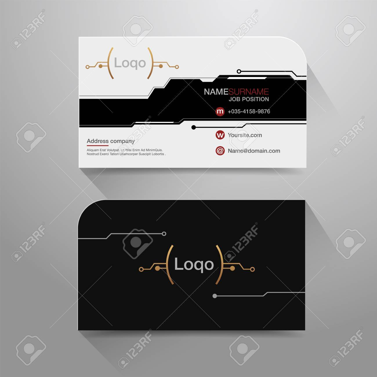 Business Name Card With Modern Digital Design Background. Vector ...