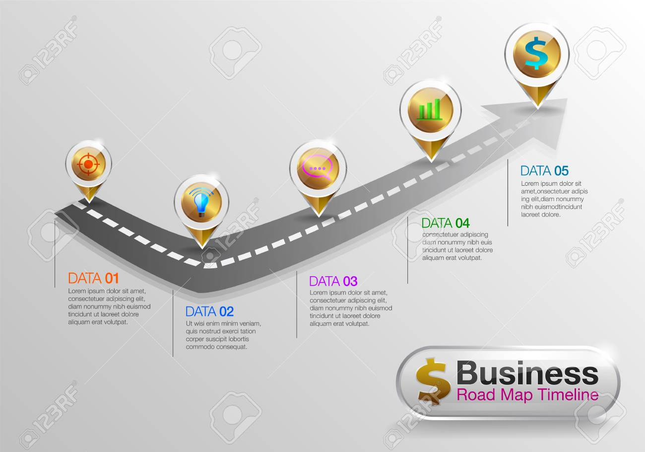 Infographic Business Roadmap Timeline Options Business Concept - Roadmap timeline template