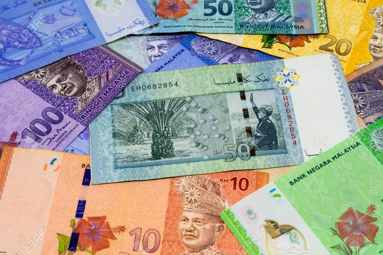 Closeup shot of Malaysia Ringgit banknotes