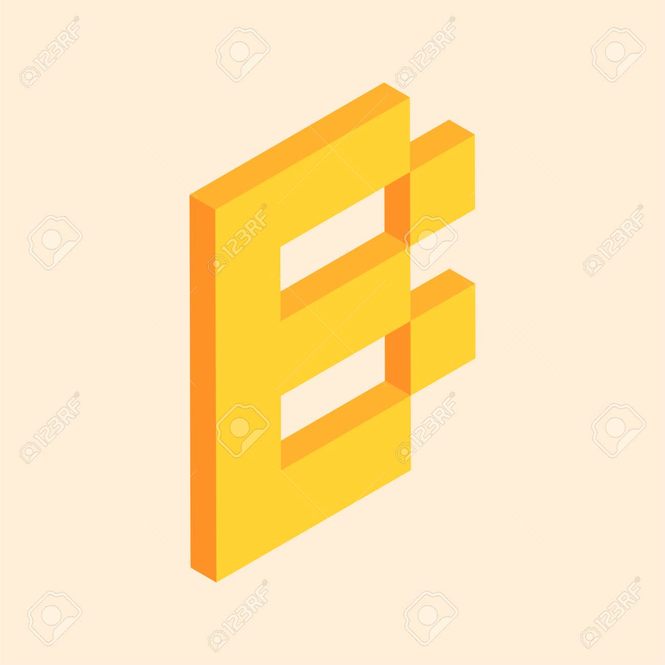 3d Colorful Isometric Pixel Art Alphabet Typeface Letter B Royalty Free Cliparts Vectors And Stock Illustration Image 102544737