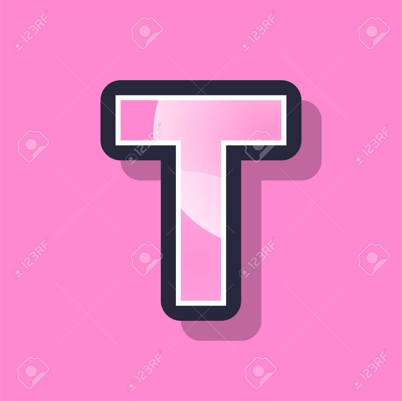 Letter T Colorful Pixel Art Alphabet Typeface With Shadow. Vector ...
