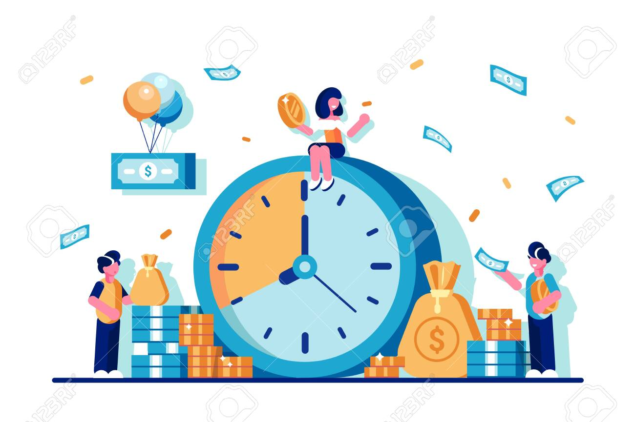 Times is money concept in flat style. - 128222302